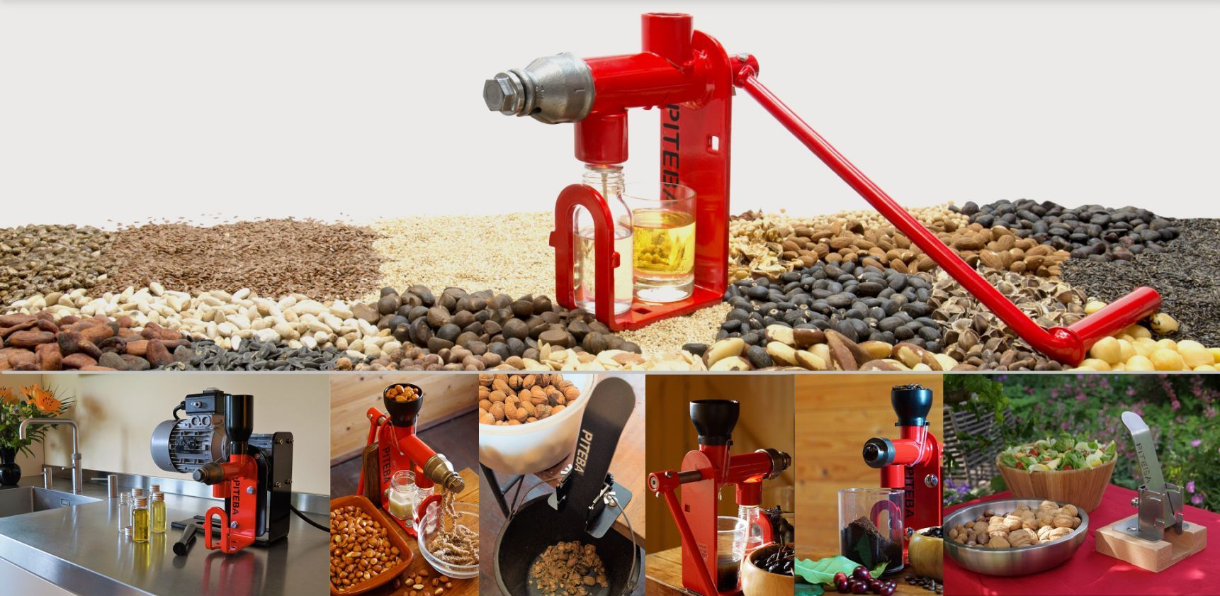 Oil press for homemade oil, manual and electric. Nutcracker for large quantities